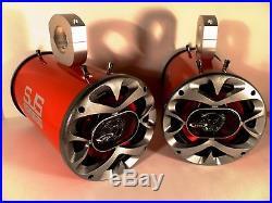 1200 Watt BOSS Red Wakeboard Tower Boat Speakers SJS Dezign Speakers