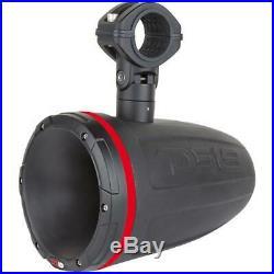 1x HYDRO 1.75 Driver Wakeboard Pod Tower Speaker 900W Matte Black RGB LED Light