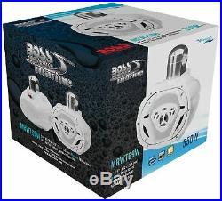 (2) Boss MRWT69W 6x9 500 Watt 4-Way White Marine Boat Wakeboard Tower Speakers