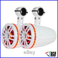 2 DS18 NXL8TPWNEO 8 Wake Board Tower Marine Boat Pod Speakers RGB LED ATV White