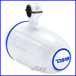 2 DS18 NXL8TPW 8 White Wakeboard Tower Marine Speakers ATV UTV Boat RGB LED