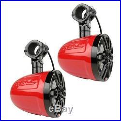 2 DS18 NXL8UTVR 8 Wake Board Tower Marine Boat UTV Pod Speakers RGB Red Black