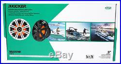 2 Dual KICKER 45KM84L 8 1200 Watt Marine Boat LED Wakeboard Tower Speakers KM8