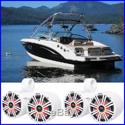 (2) Dual KICKER 45KM84L 8 1200w Marine Boat LED Wakeboard Tower Speakers KM8