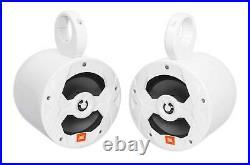(2) JBL MS8W 450 Watt 8 White Marine Wakeboard Tower Boat Speakers