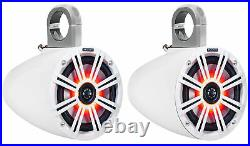 (2) KICKER 43KM654LCW 6.5 390 Watt Marine Wakeboard Tower Speakers withLED Lights