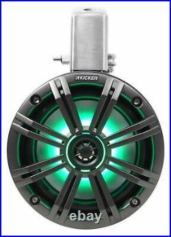 (2) KICKER 45KMTC65 6.5 390w Marine Wakeboard Tower LED Speakers KMTC65+Covers