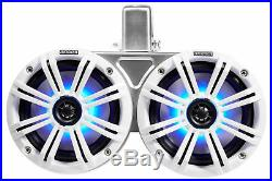 (2) KICKER 45KMTDC65W Dual 6.5 Marine Wakeboard Tower LED Speakers+Receiver+Amp