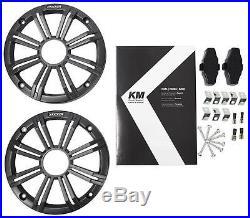 (2) KICKER KM65 6.5 390w Silver Marine Wakeboard Tower Speakers+Amplifier+Wires