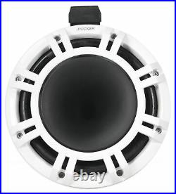 2 KICKER KMTC9 HLCD 9 600w White Wakeboard Tower LED Speakers withHorns 44KMTC94W