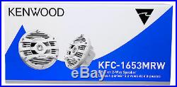 (2) Kenwood 6.5 300 Watt Waterproof Marine Boat Wakeboard Tower Speakers-Silver