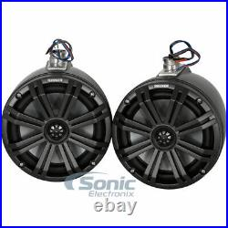 2 Kicker 45KMTC8 8 Loaded Marine Cans with 45KM84L Wakeboard Tower Speakers