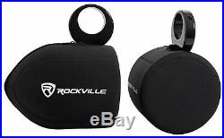 (2) Kicker 6.5 150w Marine Wakeboard Tower Speakers+Covers+Amplifier+Amp Kit