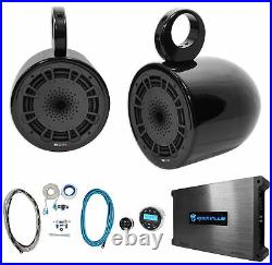 (2) MB Quart NH1-120B 8 360w Marine Wakeboard Tower Speakers+Receiver+Amplifier