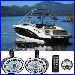 2 MB Quart NK1-169L 6x9 Marine Wakeboard LED Tower Speakers+Bluetooth Receiver