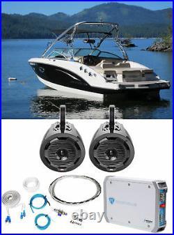 (2) MTX WET65T 6.5 300w Marine Boat Wakeboard Tower Speakers+Amplifier+Amp Kit