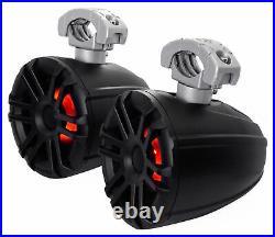 (2) Memphis Audio MXA60TB 6.5 150w Marine Wakeboard Tower Speakers+Amp+Wires