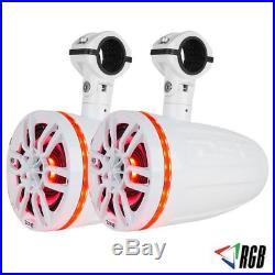 2 Pair DS18 NXL8TPWNEO Hydro 8 Wakeboard Pod Tower Speakers RGB LED ATV UTV