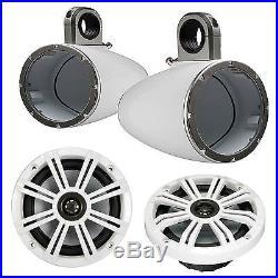 2 Pair Kicker 6.5 Marine LED Speaker, 4x 6.5 Empty Wakeboard Tower Enclosures