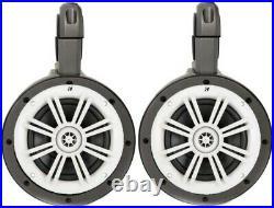 2 Pair of Kicker 12KMTES (2) 41KM604W 6.5 Wakeboard Tower White Marine Speakers