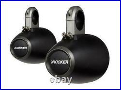 2 Pair of Kicker 12KMTES (2) 45KM654L 6.5 Wakeboard Tower Black Marine Speakers
