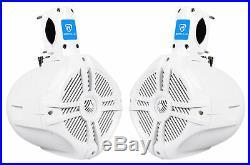 2 Pairs Rockville RWB65W 6.5 White Marine Wakeboard Tower Speakers 1000 Watts