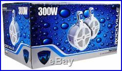 (2) Pairs Rockville RWB80W 8 White 600w Marine/Boat Wakeboard Tower Speakers