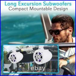 2 Pyle 300 Watt Waterproof Marine Wakeboard Tower Speakers with LEDs /Bluetooth