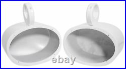 (2) Rockville 6x9 1000w 360° Swivel White Aluminum Wakeboard Tower Speakers
