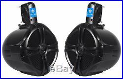 (2) Rockville 8 300w Marine Wakeboard Tower Speakers+Bluetooth Gauge Receiver