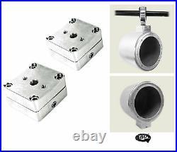 (2) Rockville 8 LED 900 Watt 360° Degree Swivel Chrome Wakeboard Tower Speakers