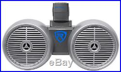 2 Rockville Dual 6.5 600w Wakeboard Tower Speakers+2-Ch Amp+Bluetooth Receiver