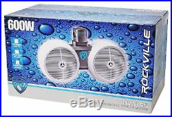 2 Rockville Dual 6.5 600w Wakeboard Tower Speakers+2-Channel Amplifier+Amp Kit
