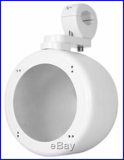 (2) Rockville MS40B White 4 200 Watt Marine Wakeboard Tower Boat Speakers