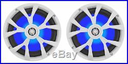 (2) Rockville RKL80MB 8 900 Watt Marine Wakeboard LED Tower Speakers in White