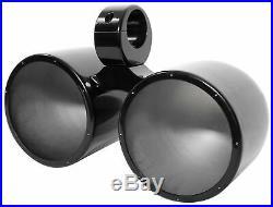 (2) Rockville RKL80MB Dual 8 900 Watt Marine Black Wakeboard LED Tower Speakers