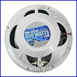 (2) Rockville RKL80MW Dual 8 900 Watt Marine White Wakeboard LED Tower Speakers