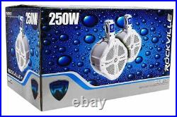 (2) Rockville RWB65B 6.5 Black 250w Marine Wakeboard Tower Speakers+Amplifier