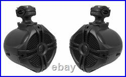 (2) Rockville RWB70B Black 6.5 Marine Wakeboard Swivel Tower Speakers+Amplifier