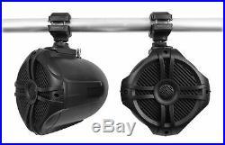 (2) Rockville RWB70B Black 6.5 Marine Wakeboard Swivel Tower Speakers+Receiver