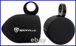2 Rockville RWB70W White 6.5 360° Swivel Marine Wakeboard Tower Speakers+Covers