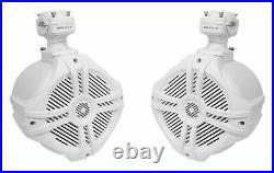 (2) Rockville RWB70W White 6.5 Marine Wakeboard Swivel Tower Speakers+Amplifier