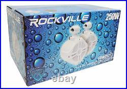 (2) Rockville RWB70W White 6.5 Marine Wakeboard Swivel Tower Speakers+Receiver
