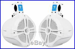 (2) Rockville RWB80W 8 White 600w Marine Wakeboard Tower Speakers+Amplifier+Kit