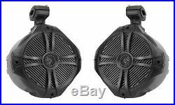 2 Rockville RWB90B Black 8 360° Swivel Marine Wakeboard Tower Speakers+Covers