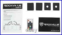 2 Rockville WB65KLED 6.5 600w Black Marine Wakeboard LED Tower Speakers+Remote