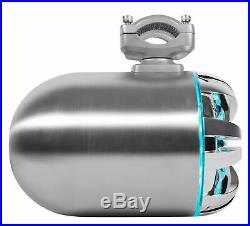 2 Rockville WB65KLED 6.5 600w Metal Marine Wakeboard LED Tower Speakers+Remote