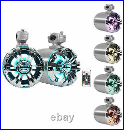 (2) Rockville WB65KLED 6.5 LED Marine Wakeboard Swivel Tower Speakers+Receiver