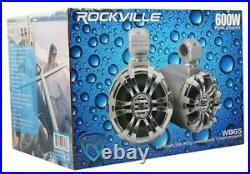 2 Rockville WB65 6.5 600w Metal Marine Wakeboard Tower Speakers+Swivel Bra