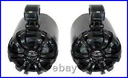 (2) Rockville WB65 Black 6.5 600w Metal Marine Wakeboard Swivel Tower Speakers